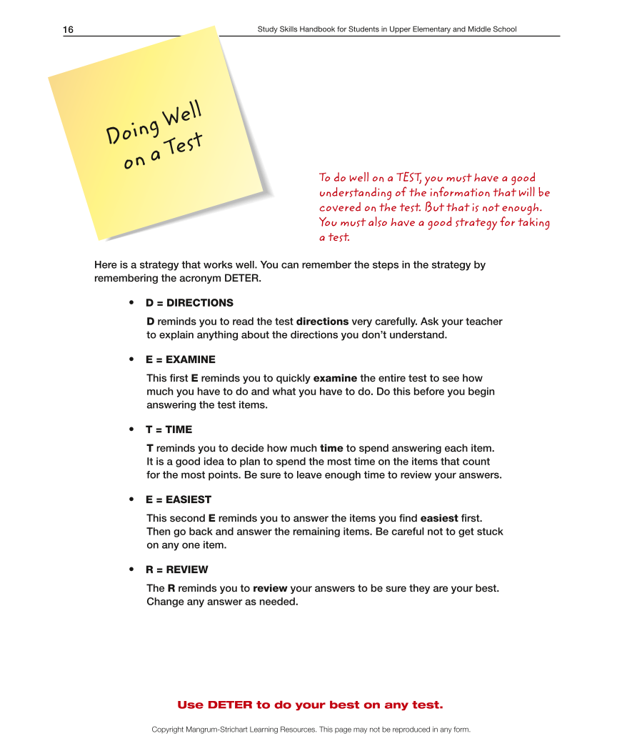 Upper Elementary/Middle School LD Study Skills Handbook - Doing Well on a Test