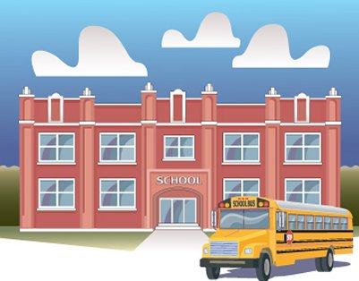 Drawing of school building and school bus